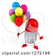 Clipart Of A 3d Unhappy Red And White Pill Character Shrugging And Holding Party Balloons Royalty Free Illustration
