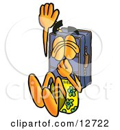 Suitcase Cartoon Character Plugging His Nose While Jumping Into Water
