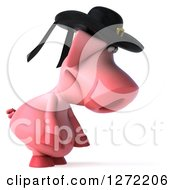 Clipart Of A 3d Breton Pig Facing Right And Pouting Royalty Free Illustration