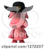 Clipart Of A 3d Breton Pig Pouting Royalty Free Illustration by Julos