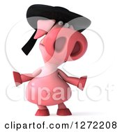 Clipart Of A 3d Breton Pig Shrugging Royalty Free Illustration