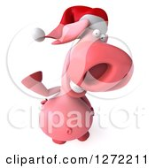 Clipart Of A 3d Happy Christmas Pig Wearing A Santa Hat Looking Up And Waving Royalty Free Illustration