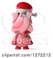 Clipart Of A 3d Sad Christmas Pig Wearing A Santa Hat And Pouting Royalty Free Illustration