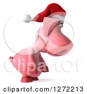 Clipart Of A 3d Sad Christmas Pig Wearing A Santa Hat Facing Right And Pouting Royalty Free Illustration