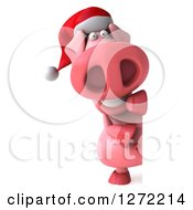 Clipart Of A 3d Full Length Happy Christmas Pig Smiling Around A Sign Royalty Free Illustration