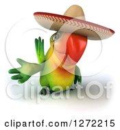 Clipart Of A 3d Green Mexican Parrot Presenting To The Left 2 Royalty Free Illustration