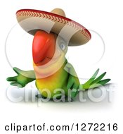 Clipart Of A 3d Green Mexican Parrot Presenting To The Left Royalty Free Illustration