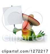 Clipart Of A 3d Green Mexican Parrot Holding Up A Blank Sign Royalty Free Illustration