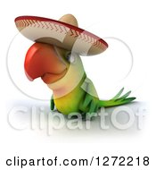 Clipart Of A 3d Green Mexican Parrot Facing To The Left Royalty Free Illustration