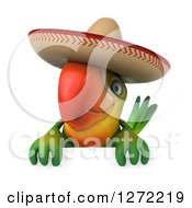 Clipart Of A 3d Green Mexican Parrot Over A Sign Royalty Free Illustration