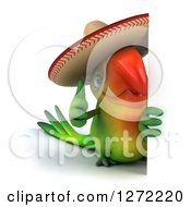 Clipart Of A 3d Green Mexican Parrot Holding A Thumb Up Around A Sign Royalty Free Illustration