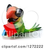 Clipart Of A 3d Green Parrot Facing Left Walking Wearing Sunglasses And Carrying Shopping Bags Royalty Free Illustration