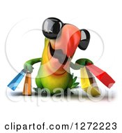 Clipart Of A 3d Green Parrot Facing Front Walking Wearing Sunglasses And Carrying Shopping Bags Royalty Free Illustration