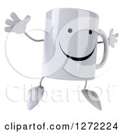 Clipart Of A 3d Happy Coffee Mug Facing Slightly Right And Jumping Royalty Free Illustration