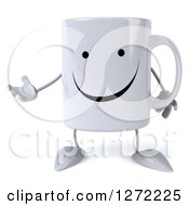Clipart Of A 3d Happy Coffee Mug Presenting To The Left Royalty Free Illustration