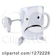 Clipart Of A 3d Unhappy Coffee Mug Holding A Thumb Down Royalty Free Illustration