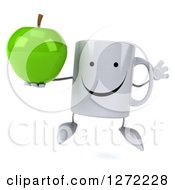 Clipart Of A 3d Happy Coffee Mug Jumping And Holding A Green Apple Royalty Free Illustration