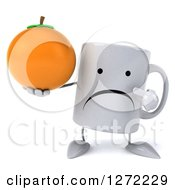 Clipart Of A 3d Unhappy Coffee Mug Holding And Pointing To An Orange Royalty Free Illustration