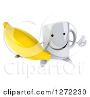 Clipart Of A 3d Happy Coffee Mug Holding Up A Thumb And A Banana Royalty Free Illustration