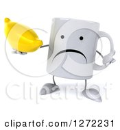 Clipart Of A 3d Unhappy Coffee Mug Shrugging And Holding A Banana Royalty Free Illustration