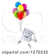 Clipart Of A 3d Happy Coffee Mug Floating And Holding Colorful Party Balloons Royalty Free Illustration