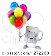 Clipart Of A 3d Happy Coffee Mug Holding And Pointing To Colorful Party Balloons Royalty Free Illustration