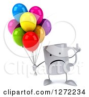 Clipart Of A 3d Unhappy Coffee Mug Holding Up A Finger And Colorful Party Balloons Royalty Free Illustration