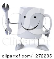 Clipart Of A 3d Happy Coffee Mug Holding A Wrench Royalty Free Illustration