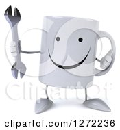 Clipart Of A 3d Happy Coffee Mug Holding A Thumb Up And A Wrench Royalty Free Illustration