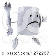 Clipart Of A 3d Unhappy Coffee Mug Facing Right And Jumping With A Wrench Royalty Free Illustration