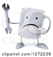 Clipart Of A 3d Unhappy Coffee Mug Holding And Pointing To A Wrench Royalty Free Illustration