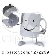 Clipart Of A 3d Happy Coffee Mug Holding A Dollar Symbol Royalty Free Illustration