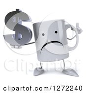 Clipart Of A 3d Unhappy Coffee Mug Holding Up A Finger And A Dollar Symbol Royalty Free Illustration