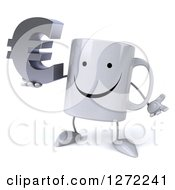 Clipart Of A 3d Happy Coffee Mug Shrugging And Holding A Euro Symbol Royalty Free Illustration