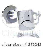Clipart Of A 3d Unhappy Coffee Mug Holding Up A Finger And A Euro Symbol Royalty Free Illustration