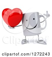 Clipart Of A 3d Happy Coffee Mug Holding Up A Finger And A Heart Royalty Free Illustration