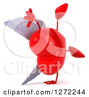 Clipart Of A 3d Winged Heart Character Cartwheeling Royalty Free Illustration by Julos