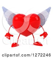 Clipart Of A 3d Winged Heart Character Facing Front And Pouting Royalty Free Illustration by Julos