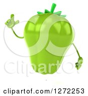 Clipart Of A 3d Green Bell Pepper Character Holding Up A Finger Royalty Free Illustration