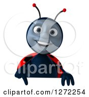 Clipart Of A 3d Happy Ladybug Pointing Down Over A Sign Royalty Free Illustration by Julos