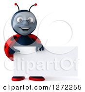 Clipart Of A 3d Happy Ladybug Holding And Pointing To A Blank Sign Royalty Free Illustration by Julos