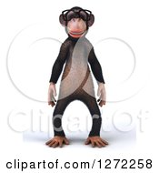 Clipart Of A 3d Bespectacled Chimpanzee Facing Front Royalty Free Illustration
