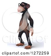 Clipart Of A 3d Bespectacled Chimpanzee Facing Left Royalty Free Illustration