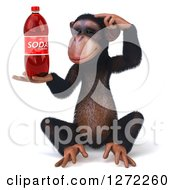 Clipart Of A 3d Thinking Chimpanzee Sitting And Holding A Soda Bottle Royalty Free Illustration
