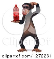 Clipart Of A 3d Thinking Chimpanzee Holding A Soda Bottle Royalty Free Illustration