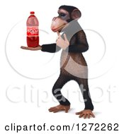 Clipart Of A 3d Thinking Chimpanzee Facing Left And Holding A Soda Bottle Royalty Free Illustration