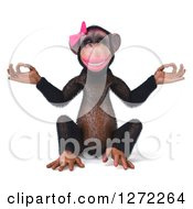 Clipart Of A 3d Female Chimp Meditating Royalty Free Illustration