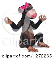Clipart Of A 3d Female Chimp Facing Right And Meditating Royalty Free Illustration