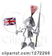 Clipart Of A 3d Medieval Knight Holding A Spear And A British Flag Royalty Free Illustration