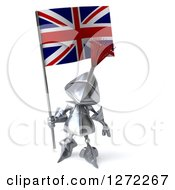 Clipart Of A 3d Medieval Knight Holding Up A British Flag Royalty Free Illustration